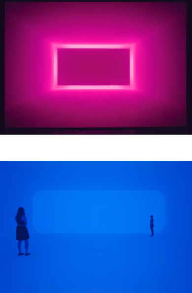 Images: James Turrell, Raemar Pink White, 1969, Shallow Space, Collection of Art & Research, Las Vegas, Installation view at Griffin Contemporary, Santa Monica, CA, 2004, © James Turrell, Photo by Robert Wedemeyer, courtesy Kayne Griffin Corcoran, Los Angeles; James Turrell, Breathing Light, 2013, LED light into space, Los Angeles County Museum of Art, purchased with funds provided by Kayne Griffin Corcoran and the Kayne Foundation, M.2013.1, © James Turrell, Photo © Florian Holzherr.