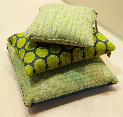 Stack green pillows